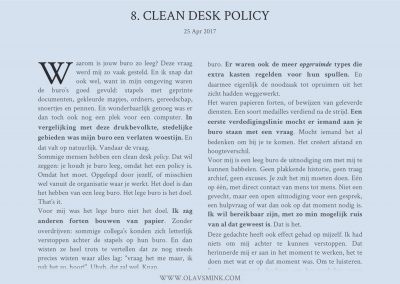 8. Clean desk policy